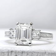 3.90 Ct. Emerald Cut Diamond Engagement Ring I Color VVS2 GIA Certified