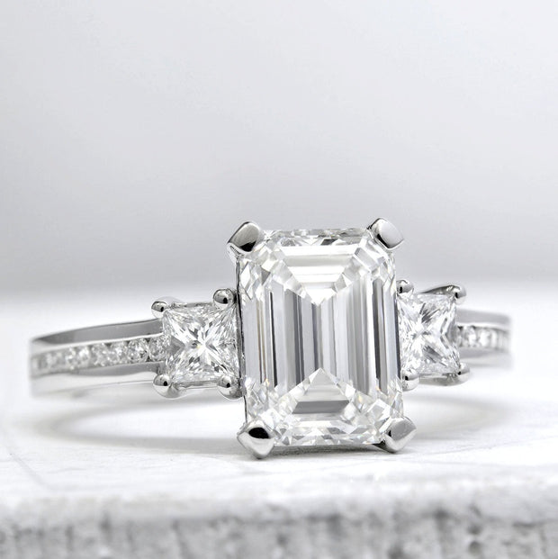 2.50 Ct. Emerald Cut Diamond Engagement Ring H Color VS1 GIA Certified