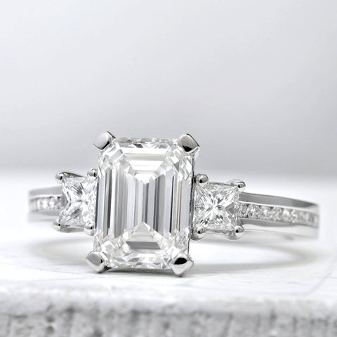 2.10 Ct. Emerald Cut Diamond Engagement Ring F Color VS2 GIA Certified