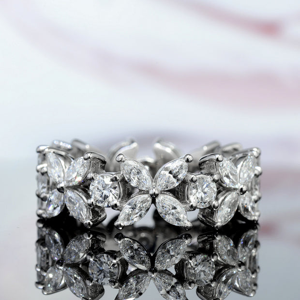 2.60 Ct. Flower Marquise and Round Cut Eternity Diamond Band F Color VS2 Clarity