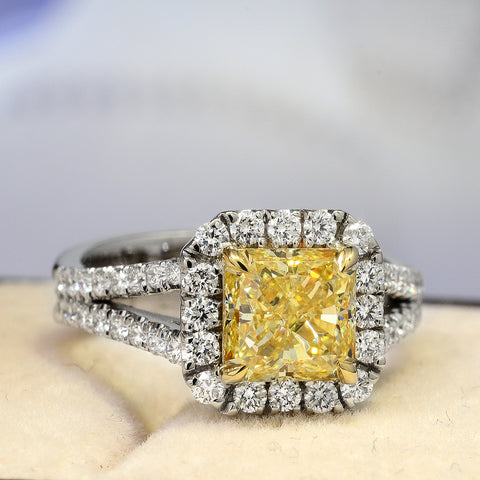 2.20 Ct. Halo Canary Fancy Yellow Split Shank Diamond Engagement Ring VS2 GIA Certified