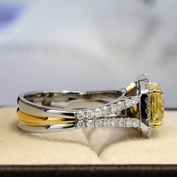 2.50 Ct Halo Fancy Yellow Cushion Cut Diamond Engagement Ring VS1 GIA Certified
