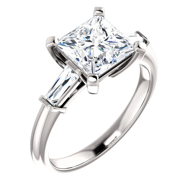 2.00 Ct. Princess Cut w Baguettes 3 Stone Diamond Ring G Color VS1 GIA Certified