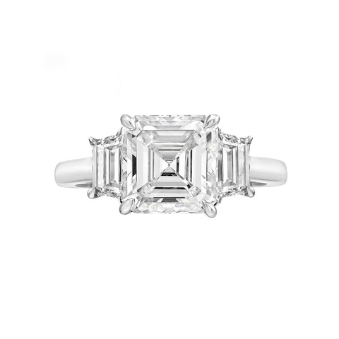1.50 Ct. 3 Stone Asscher Cut Diamond Ring w Trapezoids G Color VS1 GIA Certified