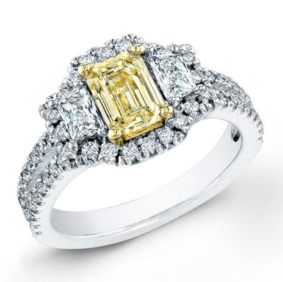1.84 Ct. Canary Yellow Emerald Cut Diamond Ring With Trapezoid