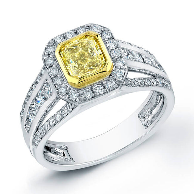 1.91 Ct. Canary Fancy Yellow Radiant Cut Diamond Engagement Ring (GIA Certified)