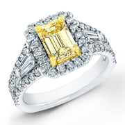 1.85 Ct. Canary Yellow Emerald Cut Diamond Ring With Baguette