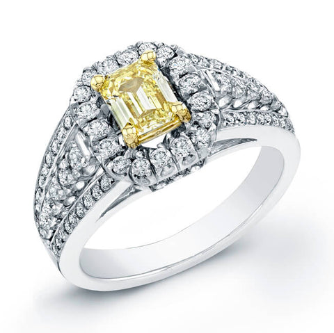 1.36 Ct. Canary Yellow Emerald Cut Diamond Ring Micro Pave