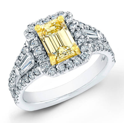 3.10 Ct. Canary Yellow Emerald Cut Diamond Ring With Baguette