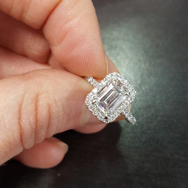 2.70 Halo Emerald Cut Diamond Engagement Ring H Color VS2 GIA certified
