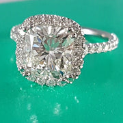 3.75 Ct. Cushion Cut Halo Diamond Engagement Ring F Color VS2 Clarity GIA Certified