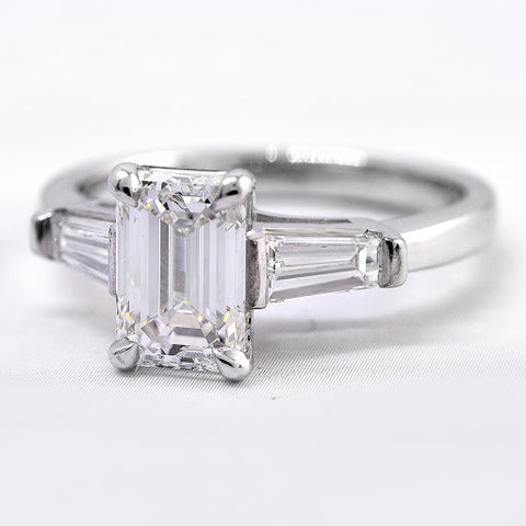 1.00 Ct. Emerald Cut w Baguettes Diamond Engagement Set I Color VS1 GIA Certified