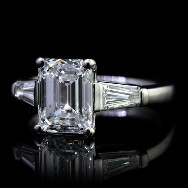 3.35 Ct. Emerald Cut w Baguettes 3 Stone Diamond Ring