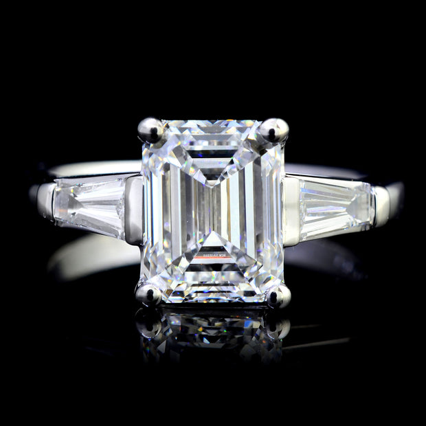 3.35 Ct. Emerald Cut w Baguettes 3 Stone Diamond Ring H Color VS1 GIA Certified