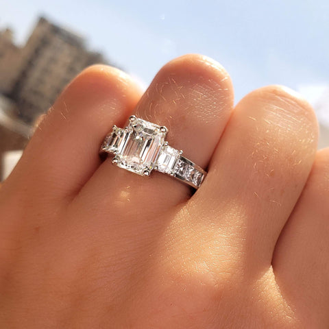 2.50 Ct. Emerald Cut 3 Stone Diamond Engagement Ring G Color VS1 GIA Certified