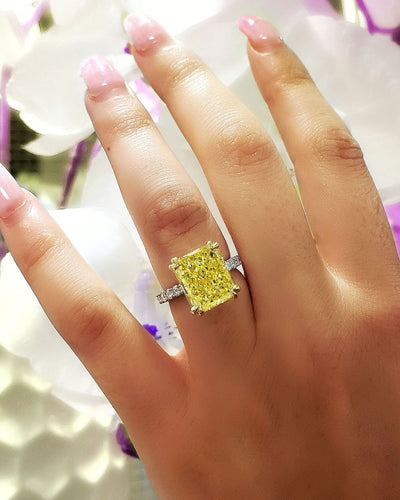 Radiant Cut Fancy Yellow Diamond Engagement Ring