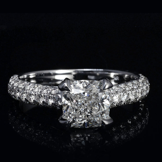 2.80 Ct. Cushion Cut Micro Pave Diamond Engagement Ring H Color VS2 GIA Certified