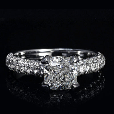 1.90 Ct. Cushion Cut 3 Row Pave Diamond Engagement Ring H Color VS2 GIA Certified