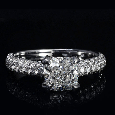 3.30 Ct. Cushion Cut Micro Pave Diamond Engagement Ring I Color VS1 GIA Certified