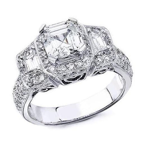 2.85 Ct. Halo Micro Pave Asscher Cut Diamond Ring I Color VVS1 GIA Certified