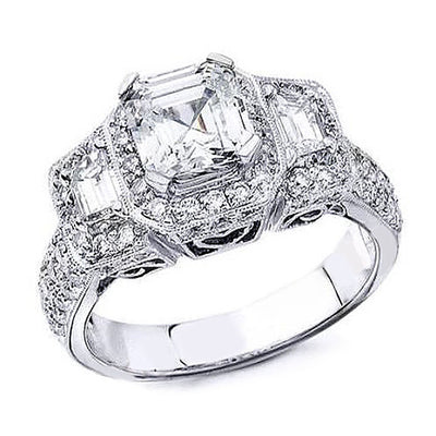 2.20 Ct. Halo 3 Stone Asscher Cut Diamond Ring I Color VS1 Clarity GIA Certified