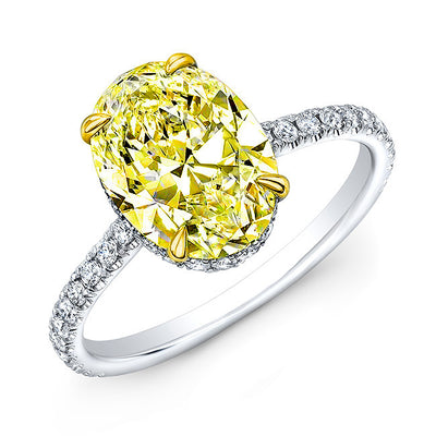 2.10 Ct. Under Halo Canary Fancy Yellow Oval Cut Diamond Ring VS1 Clarity GIA Certified