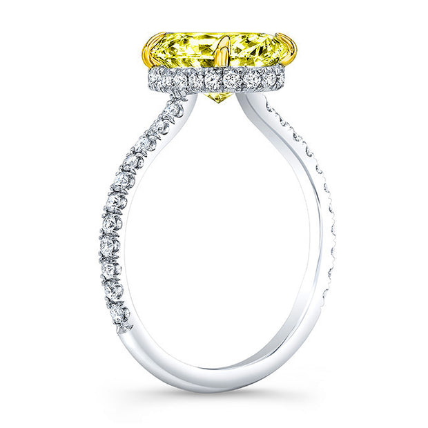 Under Halo Canary Fancy Yellow Oval Cut Diamond Ring side view
