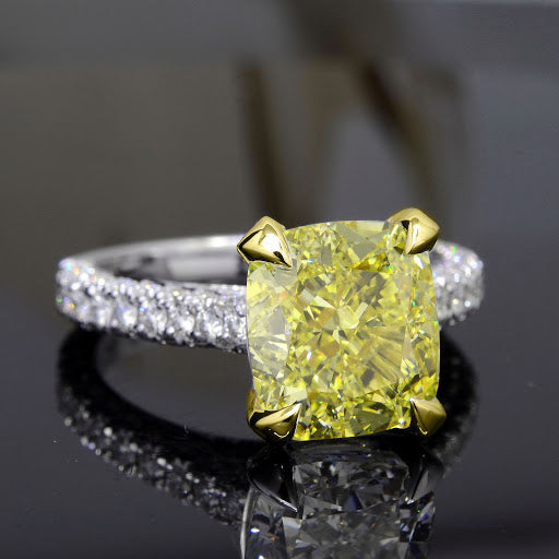 3.40 Ct. Canary Fancy Light Yellow Cushion Cut 3 Row Pave Diamond Ring VS1 Clarity GIA Certified