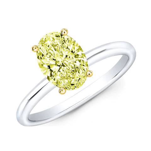 2.20 Ct. Canary Fancy Yellow Oval Cut Diamond Ring VVS1 Clarity GIA Certified