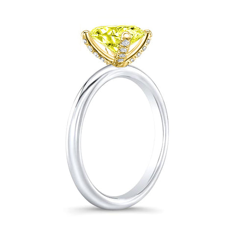1.20 Ct. Canary Fancy Yellow Oval Cut Diamond Ring SI1 Clarity GIA Certified