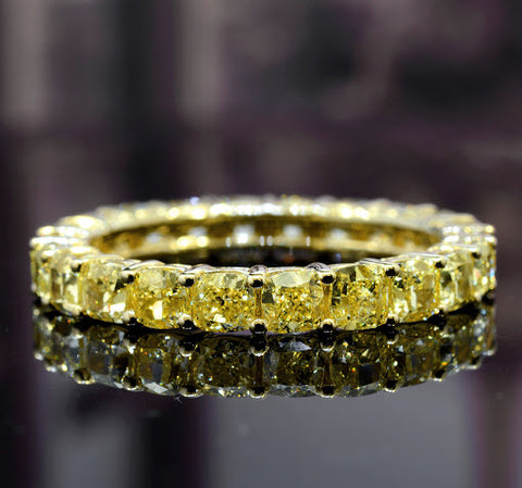 Cushion Cut Canary Fancy Yellow Diamond Eternity Ring