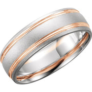 14K Solid Gold 7 mm Grooved Band with Bead Blast Finish