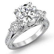 3.8 Ct. Round Cut Diamond Engagement Ring F, SI1