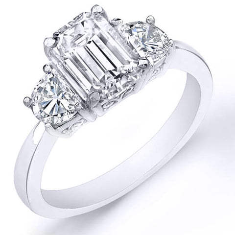 1.70 Ct. 3 Stone Emerald Cut Diamond Ring F, VVS2 (GIA Certified)