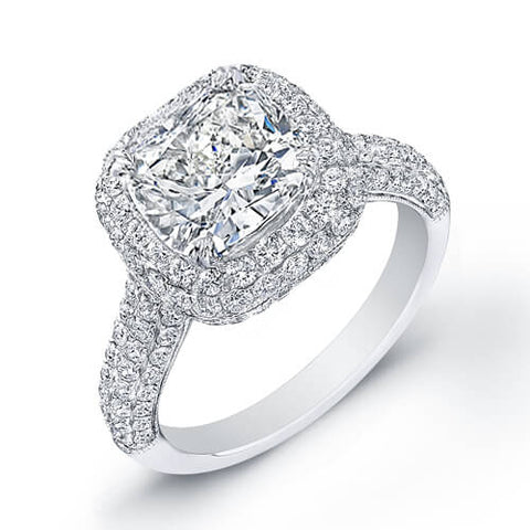 3.02 Ct. Cushion Cut Diamond Engagement Set G, VS2 (GIA Certified)
