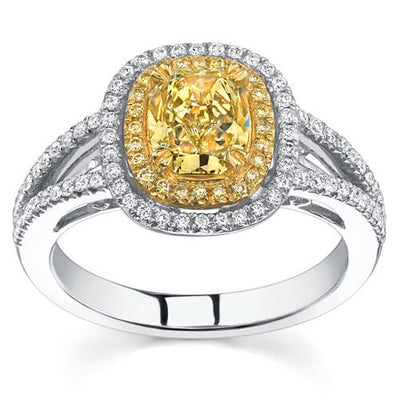 2.23 Ct. Canary Fancy Yellow Cushion Cut Diamond Engagement Ring (GIA Certified)