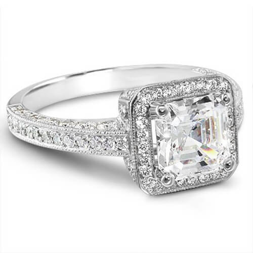 2.04 Ct. Asscher & Round Cut Diamond Engagement Ring GIA H, VVS2