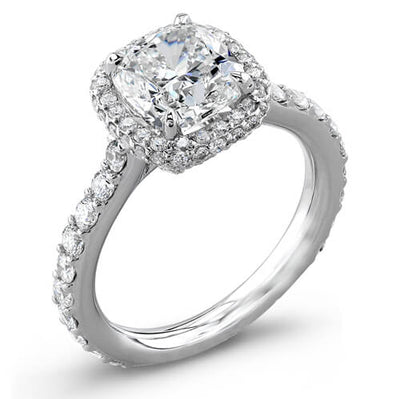 2.33 Ct. Cushion & Round Cut Diamond Engagement Ring GIA G, VS2
