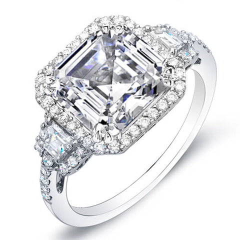 2.38 Ct. Asscher Cut w/ Halo of Round Cut Diamond Engagement Ring F,SI1 GIA