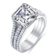 3.29 Ct. Asscher Cut Diamond Engagement Ring w/ Round Pave G,VS1 GIA