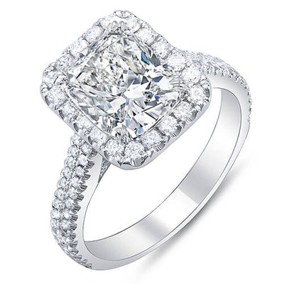 2.11 Ct. Cushion Cut w/ Round Cut Halo Diamond Engagement Ring F, SI1 GIA
