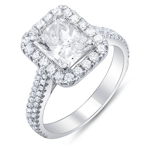 2.11 Ct. Radiant Cut w/ Round Cut Halo Diamond Engagement Ring E,VS2 GIA
