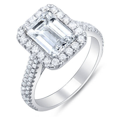 2.10 Ct. Emerald Cut w/ Round Cut Halo Diamond Engagement Ring F,VS1 GIA