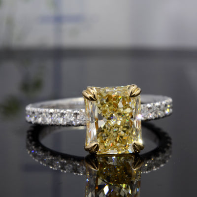 3.00 Ct. Canary Fancy Light Yellow Radiant Cut Diamond Engagement Ring