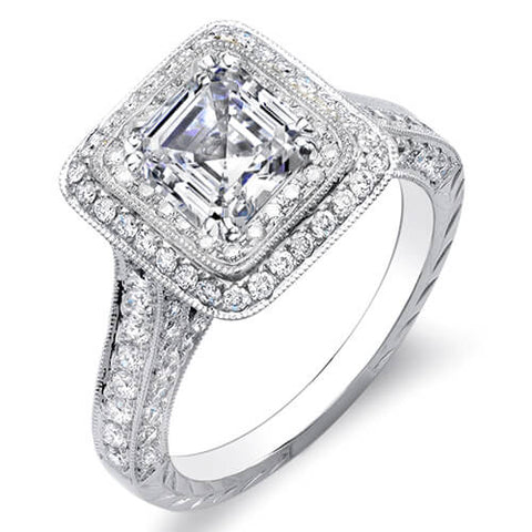 2.31 Ct. Asscher Cut w/ Round Cut Dual Halo Diamond Engagement Ring F,VVS2 GIA