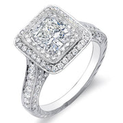 2.31 Ct. Cushion Cut w/ Round Cut Dual Halo Diamond Engagement Ring G,SI1 GIA