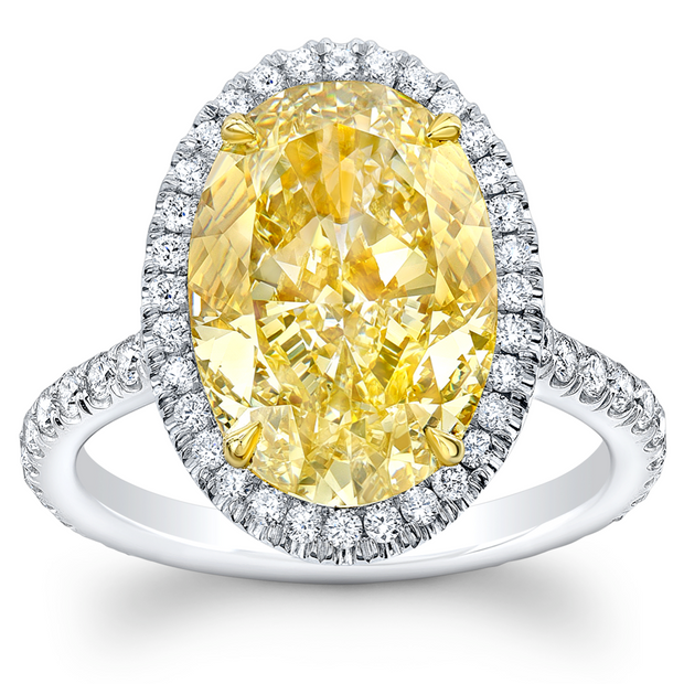 3.90 Ct. Halo Canary Fancy yellow Oval Cut Diamond Ring SI1 Clarity GIA Certified