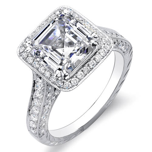 3.59 Ct. Asscher Cut w/ Round Cut One Row Halo Diamond Engagement Ring I,VVS1 GIA