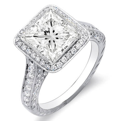3.19 Ct. Princess Cut w/ Round Cut One Row Halo Diamond Engagement Ring I,VS2 GIA