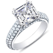 3.37 Ct. Asscher Cut w/ Round Cut Micro Pave Diamond Engagement Ring H,SI1 GIA